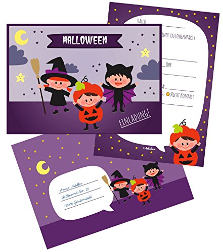 ng für Kinder: Einladungskarten zum Ausfüllen + Umschläge (Öko, klimaneutral gedruckt) (Halloween-party-einladung Text)