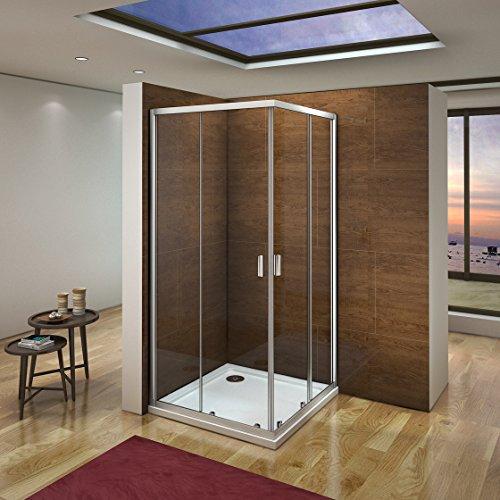 80 x 80 x 185 cm Duschkabine Schiebetür Eckeinstieg Duschabtrennung Duschwand aus 6mm ESG Sicherheitsglas Klarglas ohne Duschtasse
