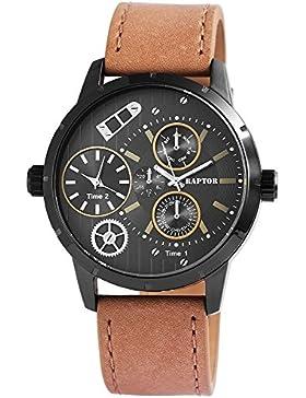 Raptor Herren Analog Armbanduhr mit Lederarmband in schwarz/braun | Chronolook | 2 Zeitzonen | Ø 48 mm - 298571300007