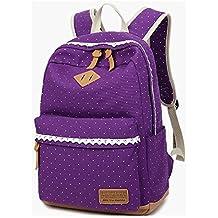 Coreano Impresión de Lienzo Mochila Mujeres Escuela Bolsas para niñas lindo bookbags Adolescentes Vintage Laptop Mochilas Mujeres (purple)