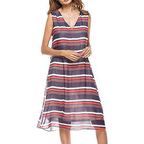 Lange Ärmel, Horizontale Streifen (Frauen Kleid Rock Horizontale Streifen In Den Langen Abschnitt Der äRmellosen SpleißEn Druck Spitze Chiffon , purple , xl)
