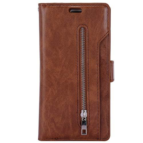 Herbests Kompatibel mit Huawei P30 Handyhülle Handytasche mit 9 Kartenfächer Handschlaufe Leder Hülle Reißverschluss Magnet Schutzhülle Multifunktions Tasche Cover Flip Case,Braun