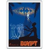 Romantik in Ägypten - Liebe auf dem Nil - Altertümlicher Ägyptischer Harfen-Spieler, Tanzende Mädchen - Vintage Retro Welt Reise Plakat Poster von M. Azmy c.1930s - Premium 290gsm Giclée Kunstdruck - 30.5cm x 41cm