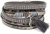 styleBREAKER Wickelarmband mit Nieten und Peace Zeichen, Blatt und Quasten Anhänger, Ketten, Armband, Damen 05040034, Farbe:Grau