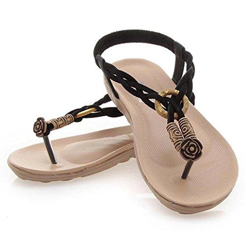 Saingace Sommer Böhmen süße Perlen Sandalen Clip Toe Sandalen Strand Schuhe Schwarz