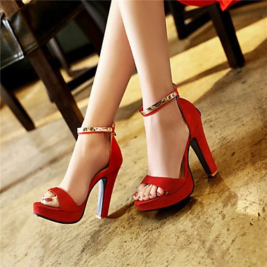 LvYuan Da donna-Sandali-Formale Casual Serata e festa-Altro-Quadrato-Felpato-Nero Rosso Kaki Red