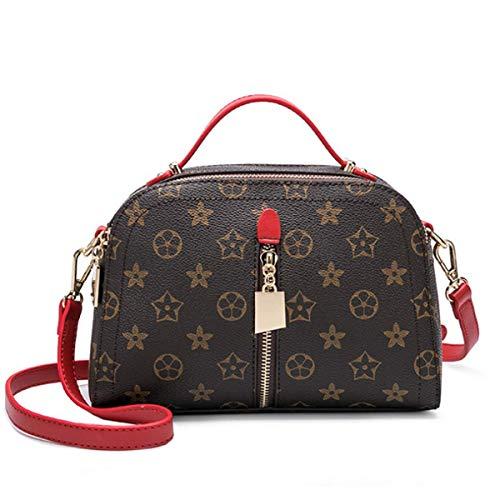 Retro Flutbeutel Stern mit der Tasche alte Blume Druck Tasche Mode Dame Handtasche Schultertasche (rot, 24 * 10 * 17cm)