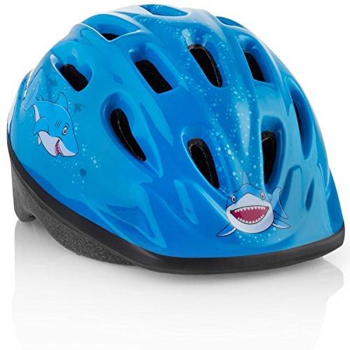 TeamObsidian Kinder Fahrradhelm [ Blauer Hai ] Verstellbare Größe für 3 bis 7 Jahre alt - Sicherer Kinderhelm mit Wassertier-Design, was Jungen & Mädchen LIEBEN Werden - CE-Zertifiziert - FunWave