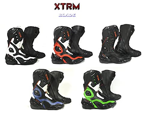Motorbike Motorcycle Boots XTRM BLADE Touring Sports On Track Boots Heavy Duty Tread Design Armoured Boots All New Colours (BLACK, UK 12 / EU 46)