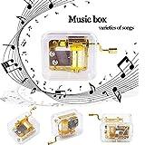 Gaddrt Musikbox Mini manuelle Bewegung Gurdy Music Box Acryl Handkurbel Weihnachten Musikbox Kinder Geschenk Gold (A)