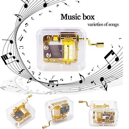 Gaddrt Musikbox Mini manuelle Bewegung Gurdy Music Box Acryl Handkurbel Weihnachten Musikbox Kinder Geschenk Gold (B)