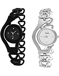 Bollywood Designer Black & Silver Dial Metal Analog Watch For Woman Pack Of 2