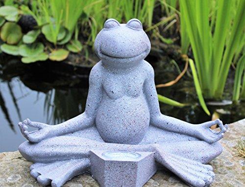HOME HUT Yoga Frog Garden Ornament Decor Solar outdoor