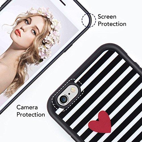 iPhone 6 6S Herz Hülle, Imikoko® iPhone 6 6S Streifen Rundumschutz Handy Hülle Schutzhülle Weich Silikon TPU Case Streifen Super Sweet Cute für Girl Frauen Mädchen(Schwarz Weiß) Schwarz Weiß