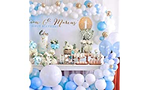 PartyWoo Blue and White Balloons 70 pcs 12 Inch Sky Blue Balloons Baby Blue Balloons White Balloons Gold Confetti Balloons Boy Baby Shower Decorations for Blue Baby Shower, Boy Birthday, Toddler Party