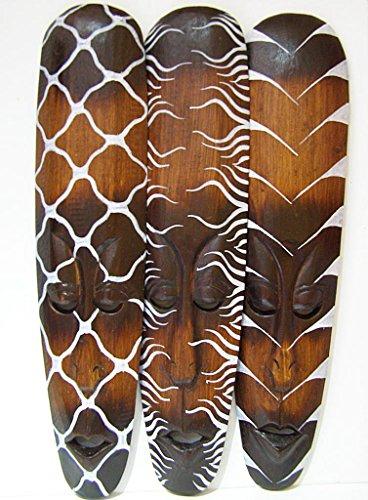 Set von 3afrikanischen Masken mit Tribal Designs Wach ist 50cm (Verkauf Zum Tier Masken)