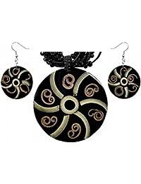 Set aus Hals-Kette und Ohrringen mit Bambus