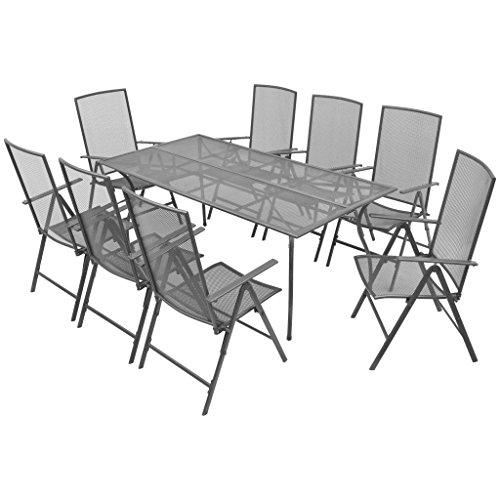 Lingjiushopping Set de comedor de jardin reclinable 9 uds Malla de acero Dimensiones de la mesa: 180 x 90 x 72 cm (longitud x anchura x altura)