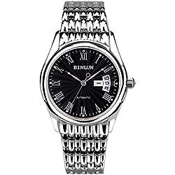 binlun Gents Classic Edelstahl groß schwarz Zifferblatt mit Römische Ziffern Marker Uhr, die für Mann, Durchmesser 4cm