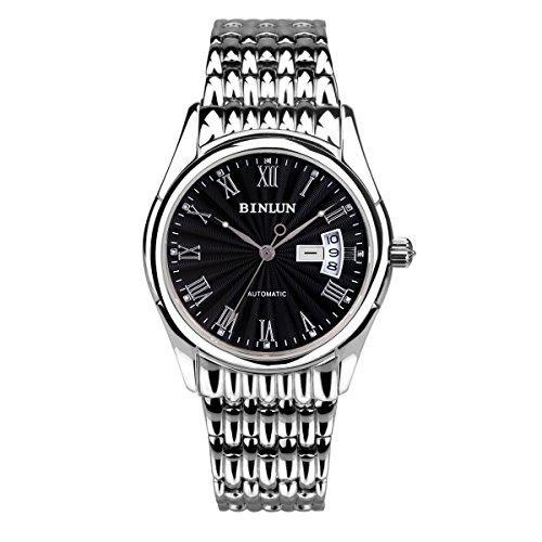 binlun Gents Classic Edelstahl groß schwarz Zifferblatt mit Römische Ziffern Marker Uhr, die für Mann, Durchmesser 4cm (Männer Gold Iced Out Uhr)
