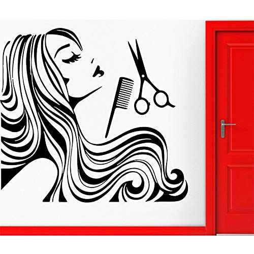 jiushizq Adesivo murale Parrucchiere Salone di Bellezza Adesivo in Vinile Teen Barbershop Decor Adesivo Rimovibile Adesivo in Vetro Grigio 82x87cm