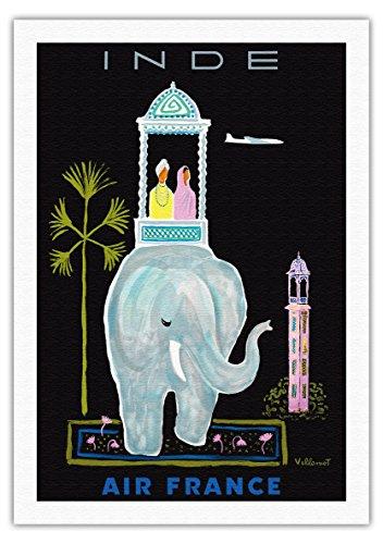 inde-air-france-elephant-indien-avec-howdah-chariot-vintage-airline-travel-poster-by-bernard-villemo
