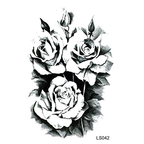 n temporär / Sticker - 3 Schwarze Rosen-Blüten - Wasserfest ()