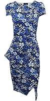 Sofias Closet Womens Tropical Dress Hula Floral Hawaiian Retro Origami Fold Peplum Pencil Rose UK 8-26