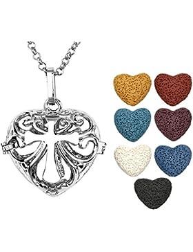 JOVIVI Herz Aromatherapie Ätherische Öle Diffusor Halskette Hollow Kreuz Medaillon Locket Anhänger mit 7x Lavastein