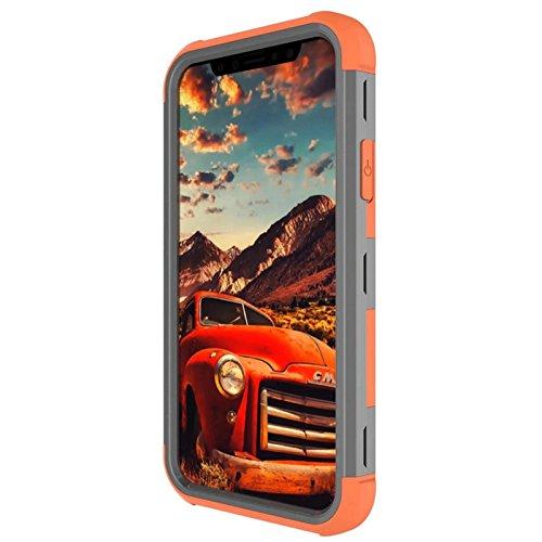 YHUISEN iPhone X Fall, Stoßdämpfung Drei-Schicht-Rüstung Defender [Heavy Duty] Robuste Hybrid Schutzhülle für iPhone X (2017) ( Color : Gray Orange ) Gray Orange
