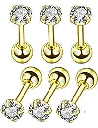 Juego de 6 pendientes de acero inoxidable con forma de bola redonda de 4 mm de diámetro para mujeres y niñas con circonita cúbica y piercing para oreja de cartílago de Tragus Free dorado