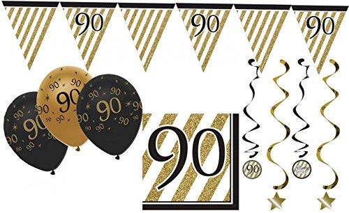34 Teile Dekorations Set zum 90. Geburtstag oder Jubiläum - Party Deko in Schwarz & Gold