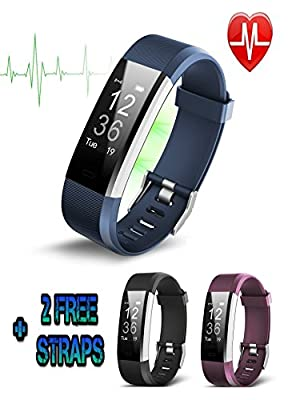 Fitness Tracker, Life Gear Pro HR Plus Waterproof Fitness Wristband with Heart Rate Monitor with Pedometer & Sleep Monitor for Android and iOS with 2 FREE INTERCHANGEABLE COLOUR STRAPS by Life Gear Pro LTD
