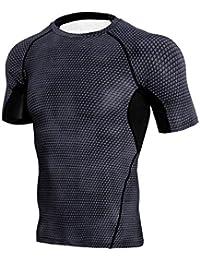 zarupeng Camiseta Sports Running Short Sleeve Fitness de secado rápido para hombres
