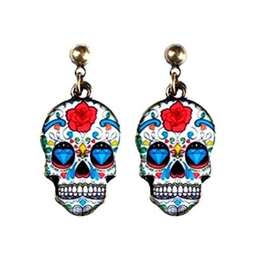 1 x Zinn-Legierung und Emaille Sugar Skull Stud Drop Ohrringe paar - nach dem Zufallsprinzip ausgewählt (Oder Halloween-31. November Oktober 1.)