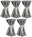 Sensalux, 5 Stehtischüberwürfe (nicht genäht) abwischbar - (Farbe nach Wahl), Überwurf grau Schleifenband weiß, Tischdurchmesser 60-70 cm, die preisgünstige Alternative zur Husse