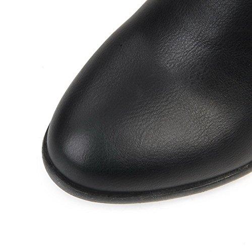AllhqFashion Damen Rund Zehe Mittler Absatz Blend-Materialien Mitte-Spitze Rein Stiefel Schwarz