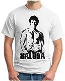 OM3 - ROCKY BALBOA - T-Shirt BOXER 70s 80s The ITALIEN STALLION USA, 5XL, Weiß