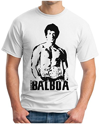 OM3 - ROCKY BALBOA - T-Shirt BOXER 70s 80s The ITALIEN STALLION USA, S - 5XL Weiß