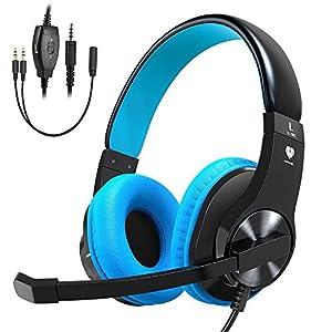 Cocoda Gaming Headset für PS4 Xbox One, Leichter Stereo Ohrhörer Over Ear Kopfhörer mit Mikrofon, Rauschunterdrückung, Verstellbarer Kopfbügel, 3,5 mm Klinke für Smartphones Laptop PC Mac