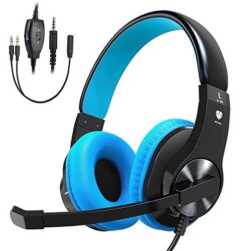 Casque Gaming pour PS4 Xbox One, Vobon Micro Casque Gamer Stéréo Anti-bruit Basse avec LED Lumière, Contrôle du Volume, Bandeau Réglable pour Nintendo Switch PC Laptop Tablette Smartphones (Bleu)