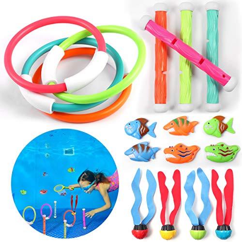 iBaseToy 20 PCS Tauch spielzeug Pool spielzeug mit Tauchringen, Tauchstäben, im Pool sinkende Fische & Meeresalgen & Poolspielzeugbehälter - Bestes poolspielzeug für Kinder, Jugendliche und Erwachsene -