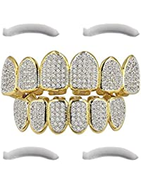 Top Class Jewels 24ct gold plated grillz with micropave CZ diamonds + 2 extra shaped parts (each style, white gold, silver, gold, diamonds) (Micropave 6)