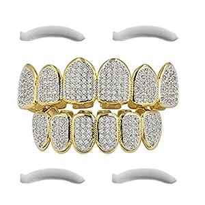 Top Class Jewels 24K vergoldeter Grillz mit Micropave CZ Diamanten + 2 EXTRA Formteile (Jeder Stil, Weißgold, Silber, Gold, Diamanten) (Mikropave 6)