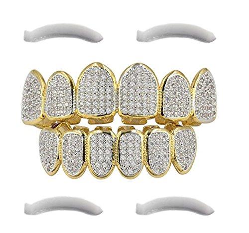Top Class Jewels 24K vergoldeter Grillz mit Micropave CZ Diamanten + 2 EXTRA Formteile (Jeder Stil, Weißgold, Silber, Gold, Diamanten) (Mikropave 6) -