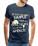 Spreadshirt J'aime Les Tracteurs Et Les Apéros T-Shirt Homme, XL, Bleu Marine...