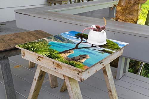 Wallario Aufkleber Selbstklebende Garten-Tisch-Decke - Italienische Küste in 70 x 70 cm -