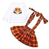 i-uend Weihnachten Baby 2Pcs Outfits, Kleinkind Baby Print Tops + Overalls Plaid Rock Outfits für 0-4 Jahre eingestellt