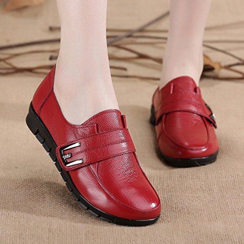 Yiiquan Donna Pelle PU Mocassino Scarpe Col Tacco Basso Piatto Casuali Comfort Velcro Scarpe Rosso