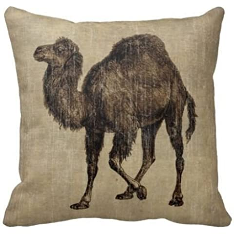 Decorative Cushion Cover Linen Cotton Square pillow case/Copricuscini e federe 18 Inch Vintage Camel set of 1 by PatriciaStore